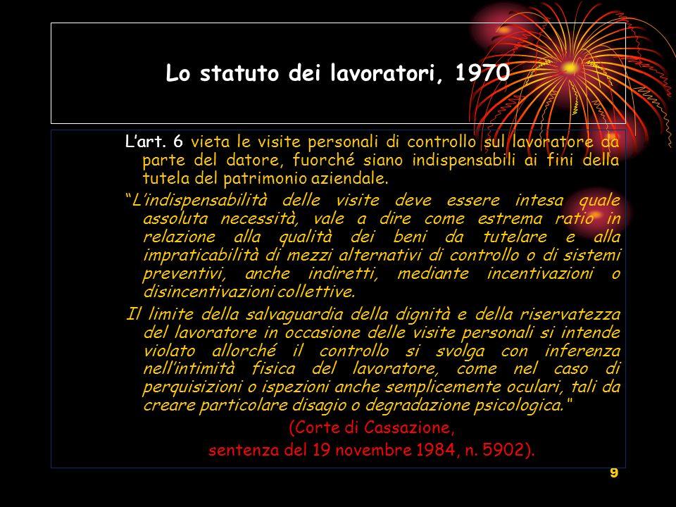 10 Lo statuto dei lavoratori, 1970 Allart.