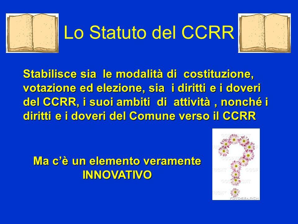 Stabilisce sia le modalità di costituzione, votazione ed elezione, sia i diritti e i doveri del CCRR, i suoi ambiti di attività, nonché i diritti e i