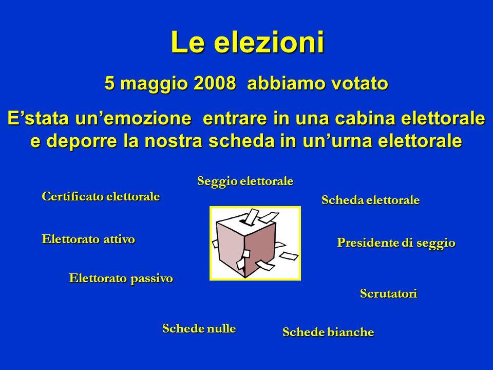 Le elezioni 5 maggio 2008 abbiamo votato Estata unemozione entrare in una cabina elettorale e deporre la nostra scheda in unurna elettorale Certificat