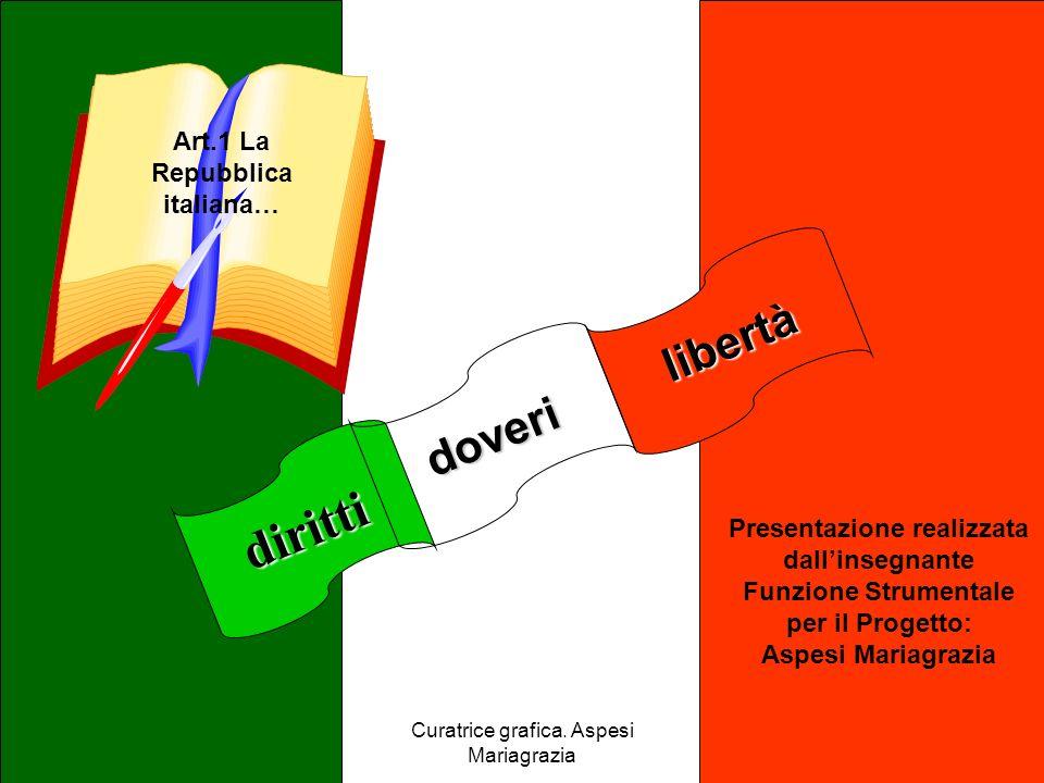 Curatrice grafica. Aspesi Mariagrazia libertà diritti doveri Art.1 La Repubblica italiana… Presentazione realizzata dallinsegnante Funzione Strumental