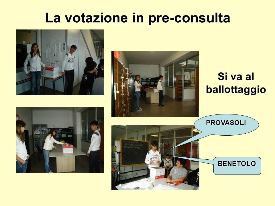 La votazione in pre-consulta Si va al ballottaggio PROVASOLI BENETOLO