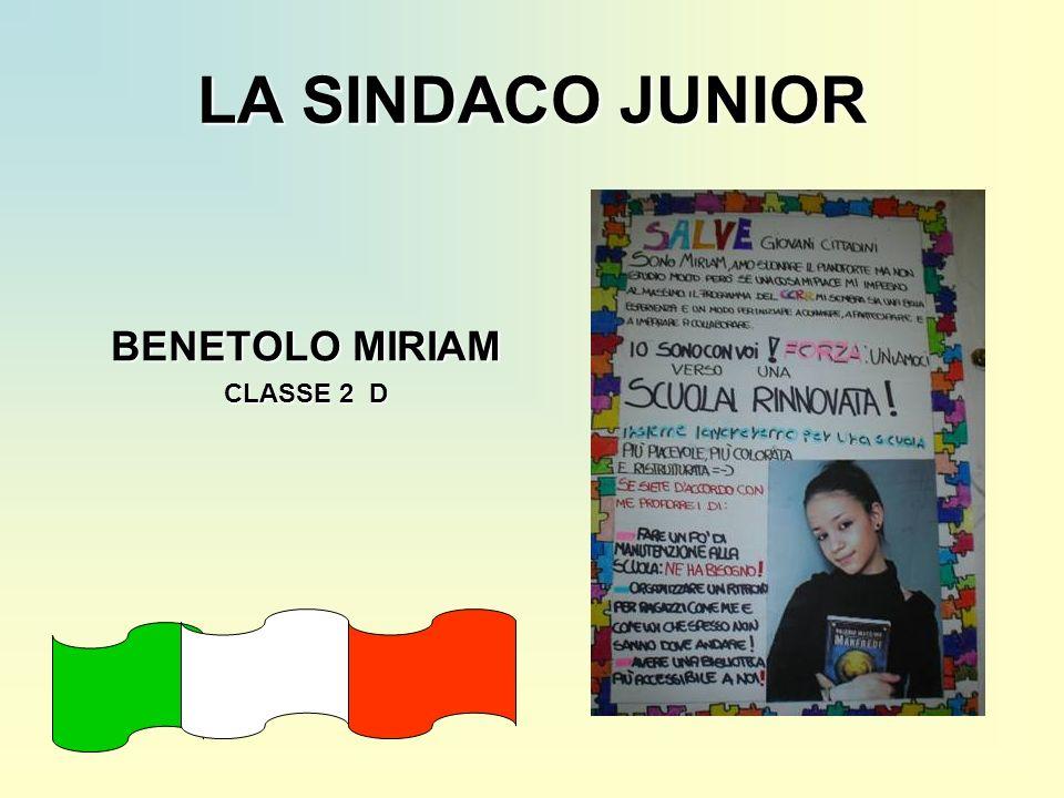 LA SINDACO JUNIOR BENETOLO MIRIAM CLASSE 2 D