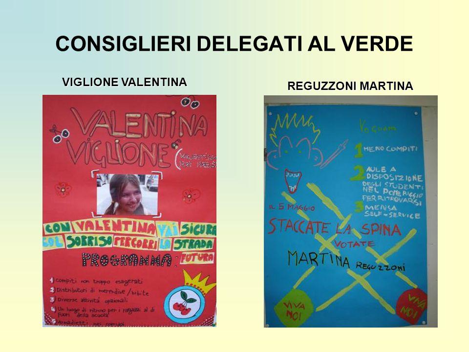 CONSIGLIERI DELEGATI AL VERDE REGUZZONI MARTINA VIGLIONE VALENTINA