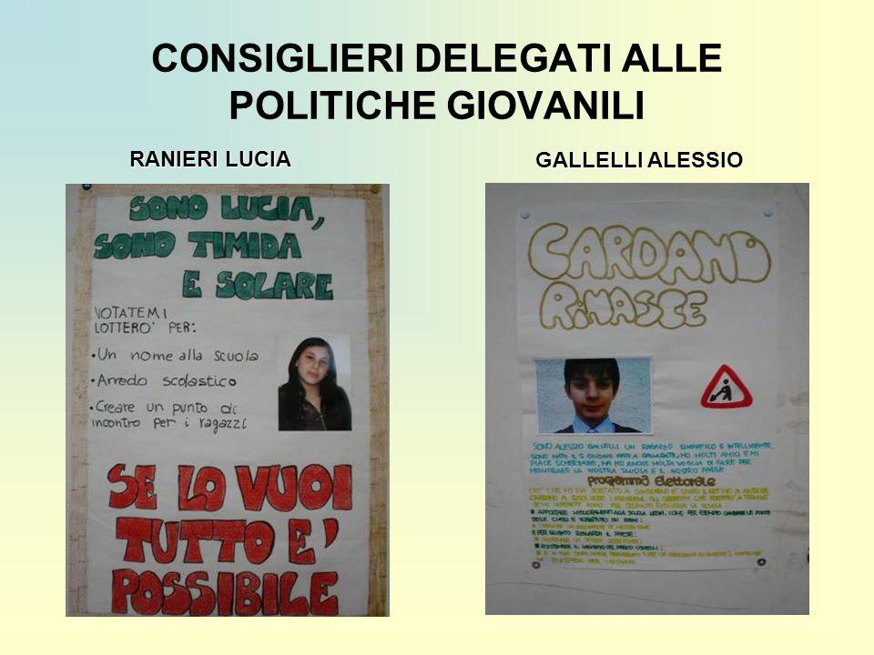 CONSIGLIERI DELEGATI ALLE POLITICHE GIOVANILI RANIERI LUCIA GALLELLI ALESSIO