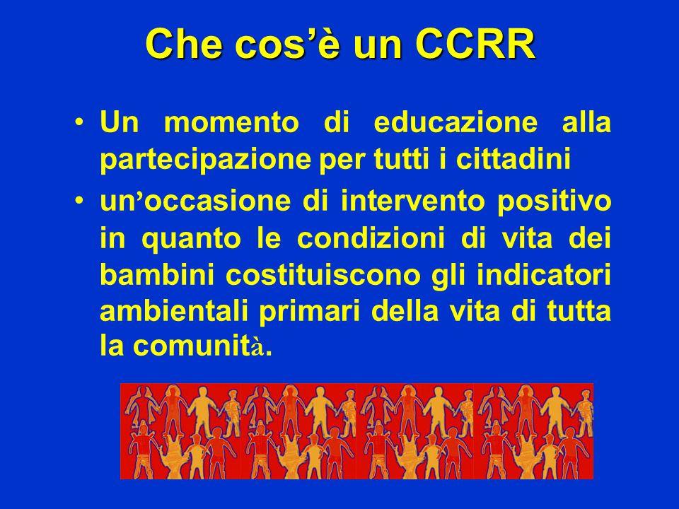 Che cosè un CCRR Un momento di educazione alla partecipazione per tutti i cittadini un occasione di intervento positivo in quanto le condizioni di vit