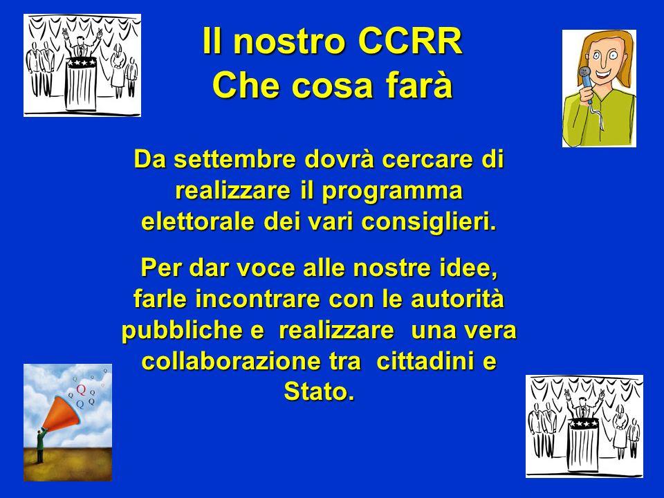 Il nostro CCRR Che cosa farà Da settembre dovrà cercare di realizzare il programma elettorale dei vari consiglieri. Per dar voce alle nostre idee, far