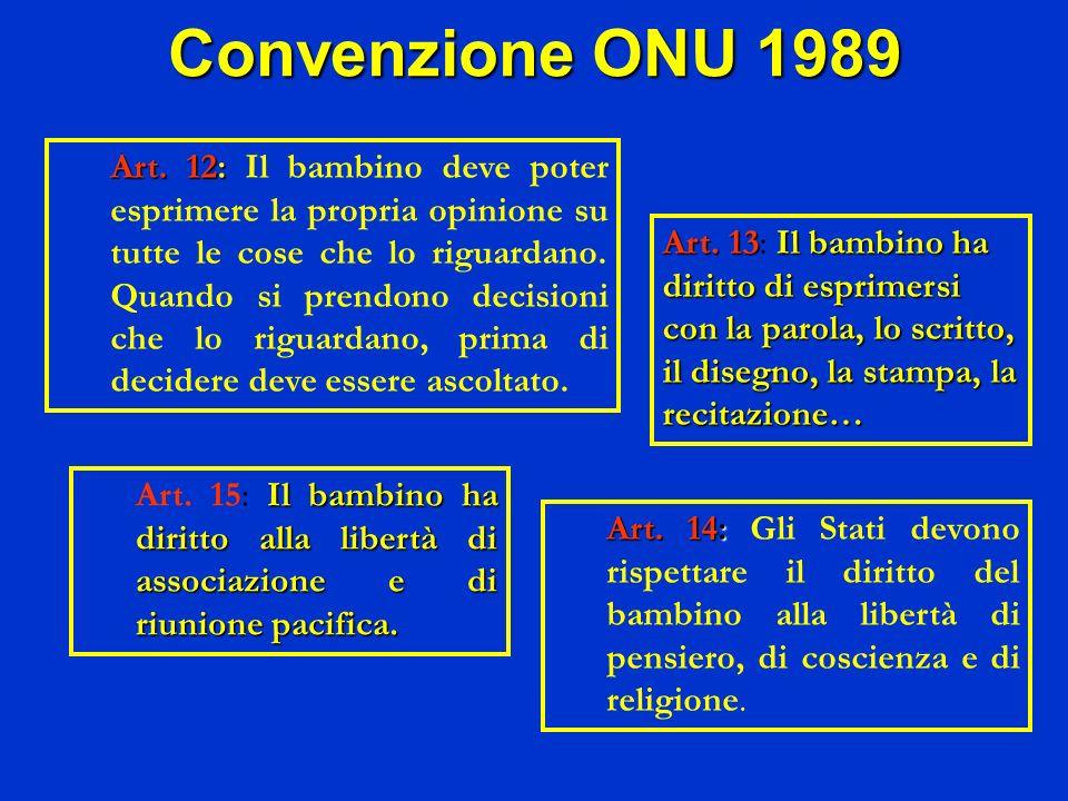 Convenzione ONU 1989 Il bambino ha diritto alla libertà di associazione e di riunione pacifica. Art. 15: Il bambino ha diritto alla libertà di associa