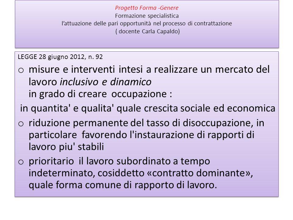 Progetto Forma -Genere Formazione specialistica lattuazione delle pari opportunità nel processo di contrattazione ( docente Carla Capaldo) LEGGE 28 giugno 2012, n.
