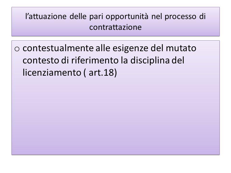lattuazione delle pari opportunità nel processo di contrattazione o contestualmente alle esigenze del mutato contesto di riferimento la disciplina del licenziamento ( art.18)