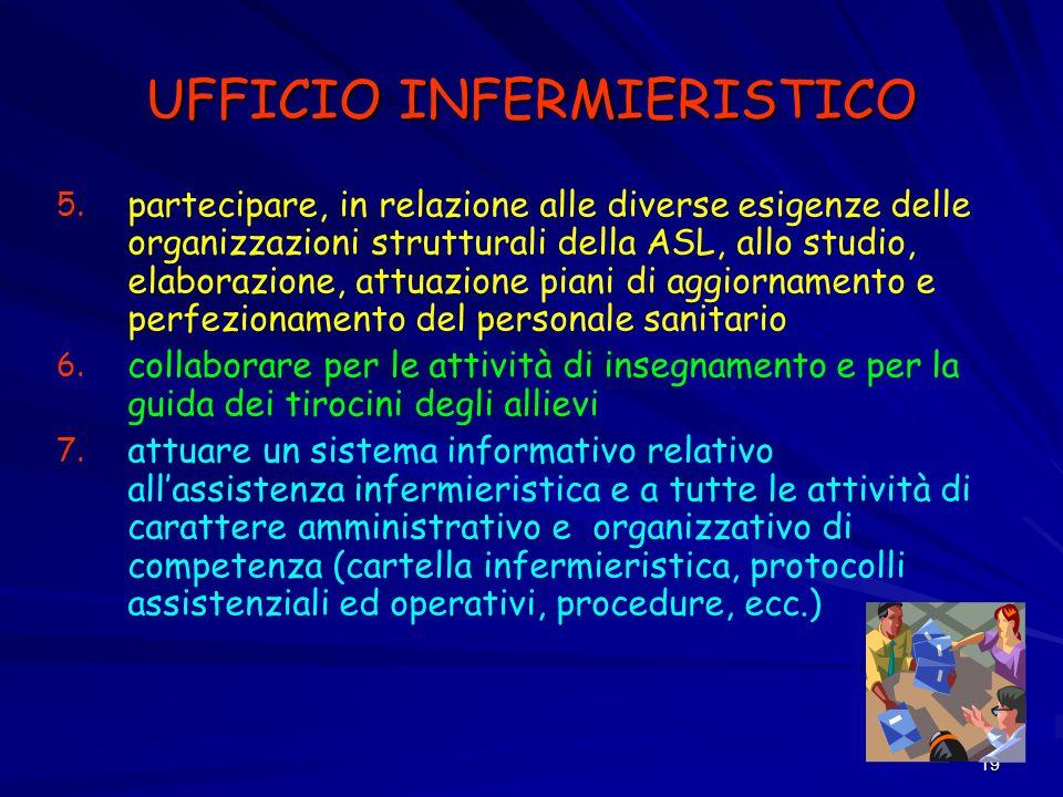 19 UFFICIO INFERMIERISTICO 5. 5. partecipare, in relazione alle diverse esigenze delle organizzazioni strutturali della ASL, allo studio, elaborazione