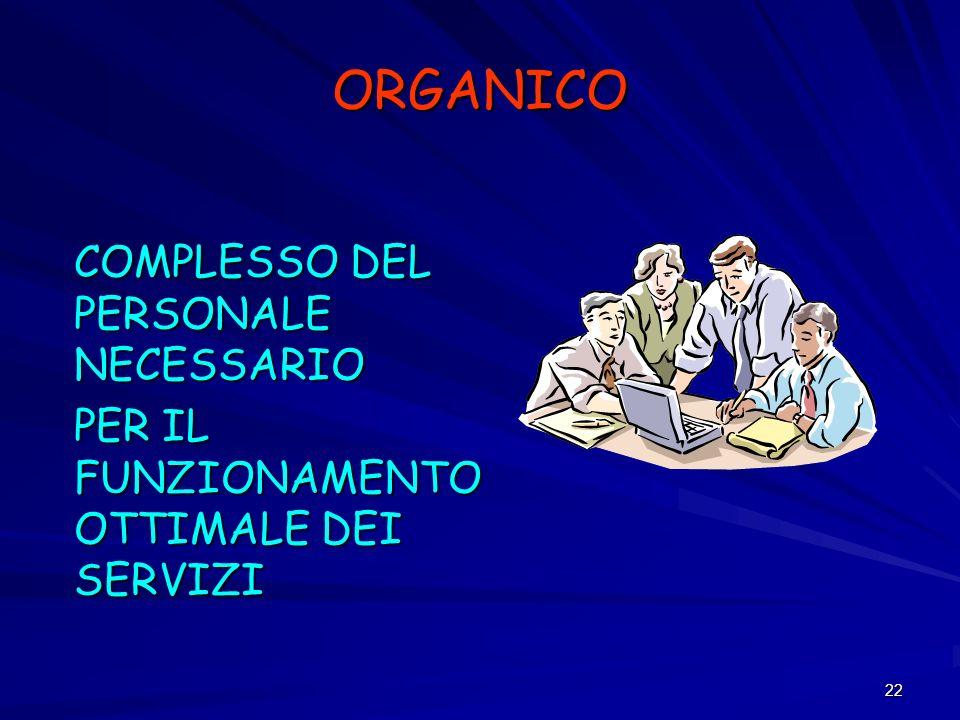 22 ORGANICO COMPLESSO DEL PERSONALE NECESSARIO PER IL FUNZIONAMENTO OTTIMALE DEI SERVIZI