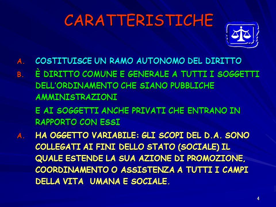 4 CARATTERISTICHE A. COSTITUISCE UN RAMO AUTONOMO DEL DIRITTO B. È DIRITTO COMUNE E GENERALE A TUTTI I SOGGETTI DELLORDINAMENTO CHE SIANO PUBBLICHE AM