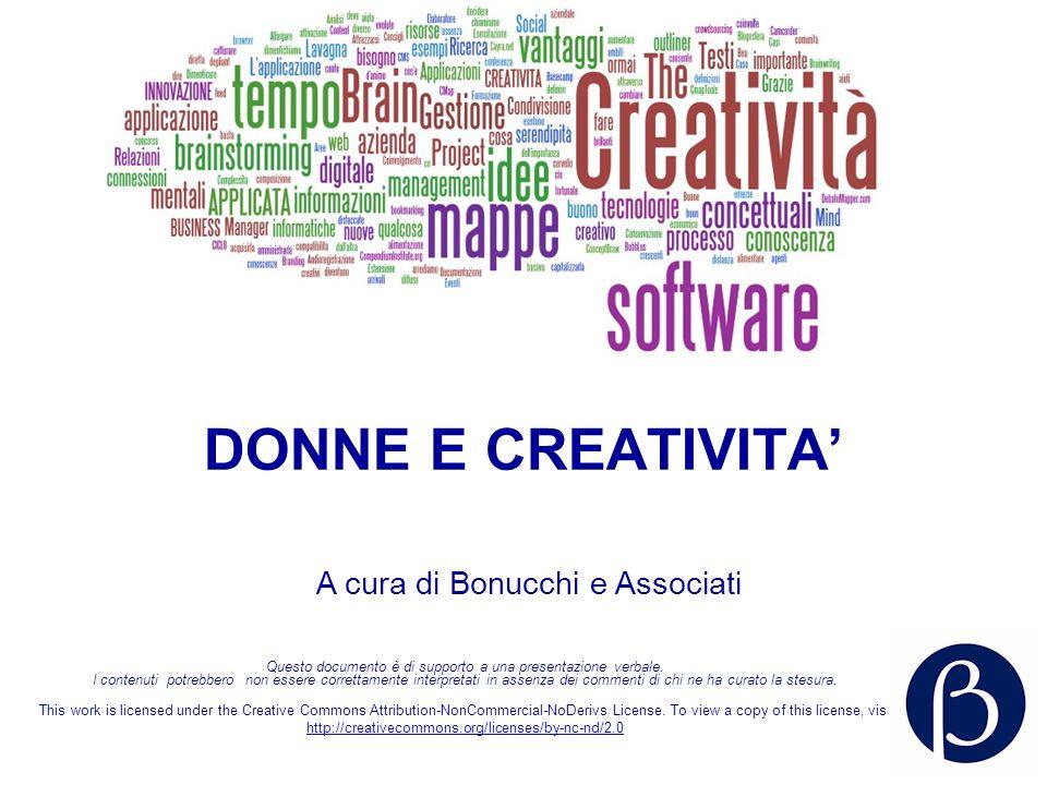 Donne e creatività 42 Creatività e Project Management Estensione nel tempo del processo creativo Complessità nella composizione della squadra Da Ms Project a Basecamp (http://basecamphq.com/), passando per Viewpath (http://www.viewpath.com/)http://basecamphq.com/http://www.viewpath.com/