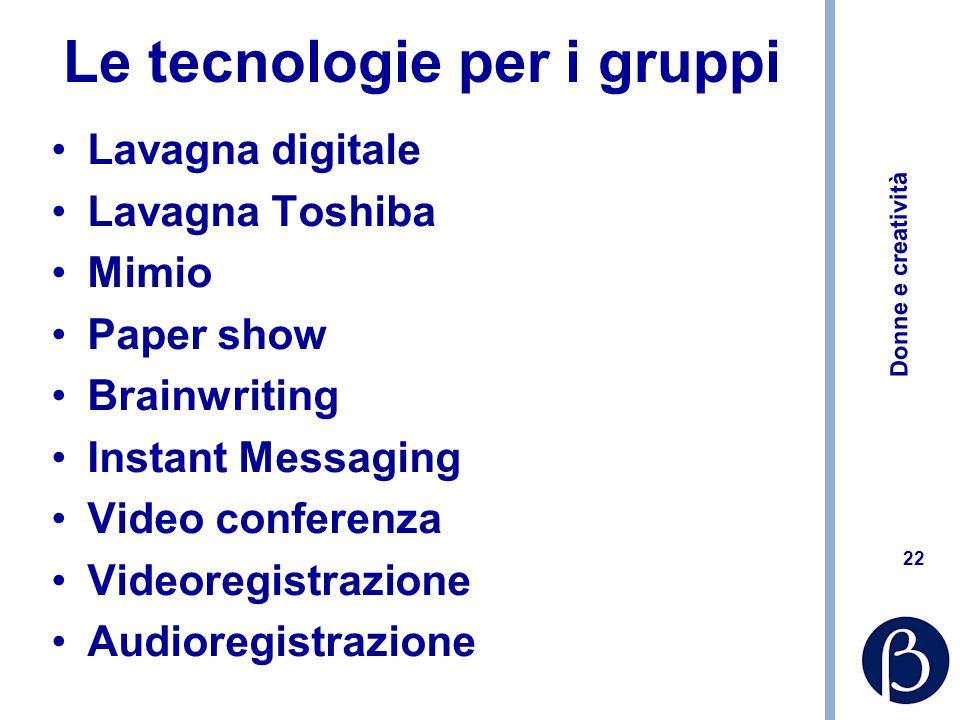 Donne e creatività 22 Le tecnologie per i gruppi Lavagna digitale Lavagna Toshiba Mimio Paper show Brainwriting Instant Messaging Video conferenza Vid