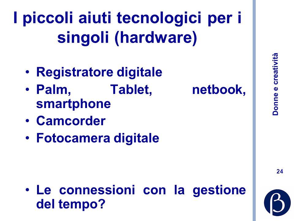 Donne e creatività 24 I piccoli aiuti tecnologici per i singoli (hardware) Registratore digitale Palm, Tablet, netbook, smartphone Camcorder Fotocamer