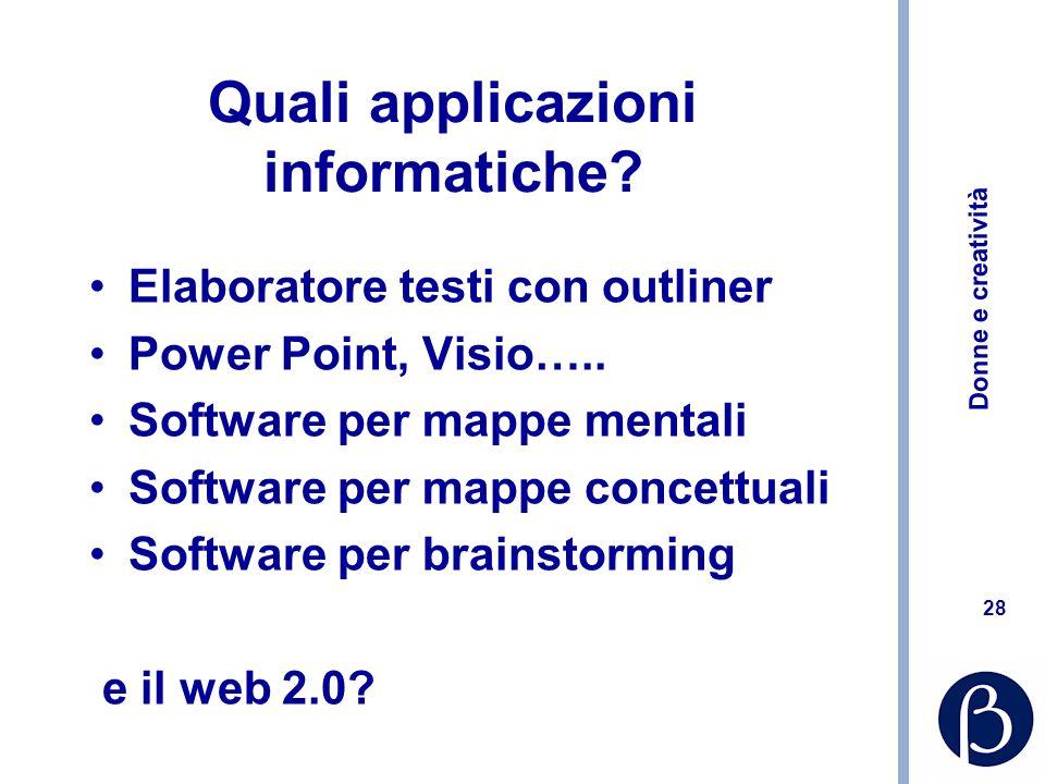 Donne e creatività 28 Quali applicazioni informatiche? Elaboratore testi con outliner Power Point, Visio….. Software per mappe mentali Software per ma