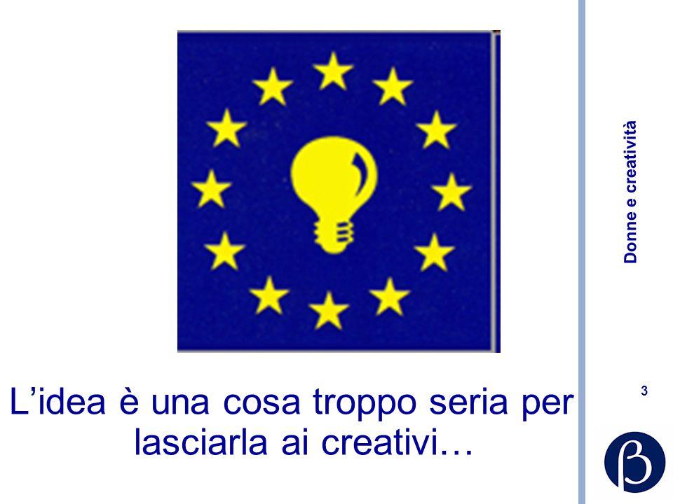 Donne e creatività 44 Creatività 2.0: crowdsourcing www.zooppa.com www.logotournament.com http://www.innocentive.com/ http://www.bootb.com/en/ http://99designs.com/ http://www.creativefolks.net/ http://ideascale.com/ http://www.triz-journal.com/ …………………………….