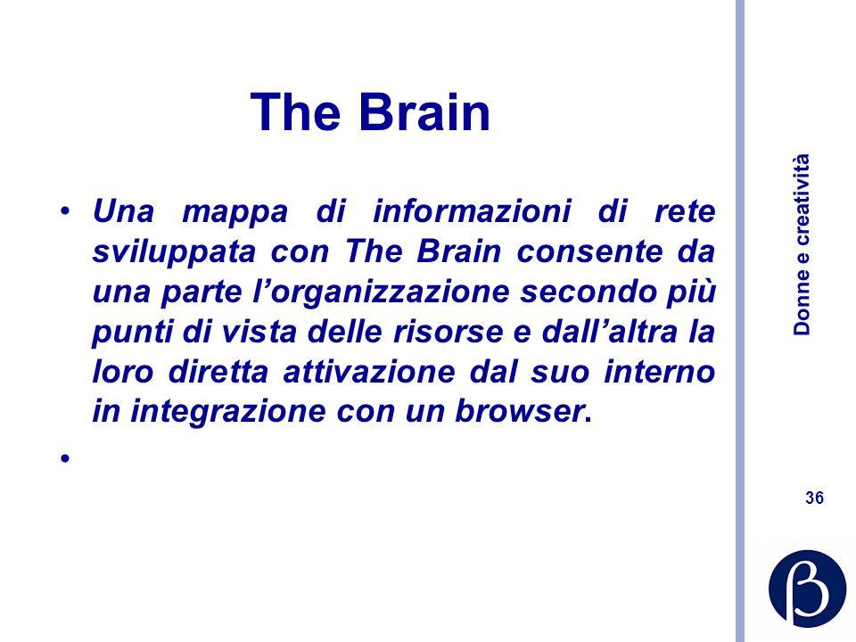Donne e creatività 36 The Brain Una mappa di informazioni di rete sviluppata con The Brain consente da una parte lorganizzazione secondo più punti di