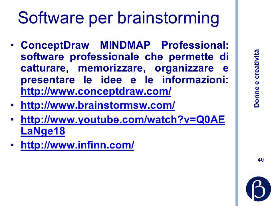 Donne e creatività 40 Software per brainstorming ConceptDraw MINDMAP Professional: software professionale che permette di catturare, memorizzare, orga