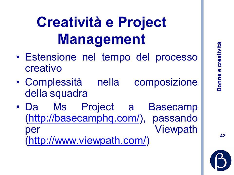 Donne e creatività 42 Creatività e Project Management Estensione nel tempo del processo creativo Complessità nella composizione della squadra Da Ms Pr