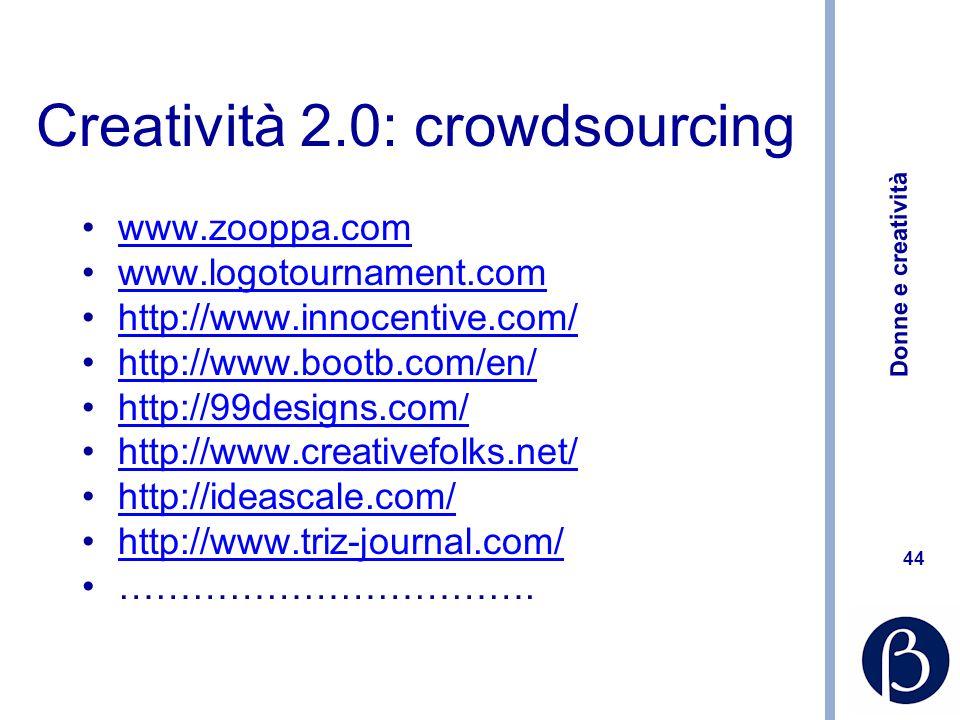 Donne e creatività 44 Creatività 2.0: crowdsourcing www.zooppa.com www.logotournament.com http://www.innocentive.com/ http://www.bootb.com/en/ http://