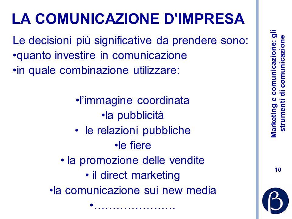 Marketing e comunicazione: gli strumenti di comunicazione 10 LA COMUNICAZIONE D'IMPRESA Le decisioni più significative da prendere sono: quanto invest