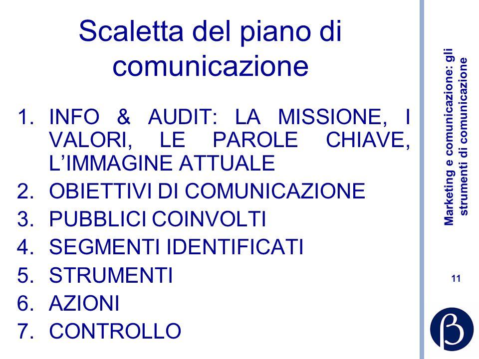 Marketing e comunicazione: gli strumenti di comunicazione 11 Scaletta del piano di comunicazione 1.INFO & AUDIT: LA MISSIONE, I VALORI, LE PAROLE CHIA