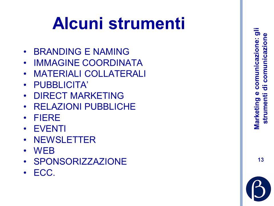 Marketing e comunicazione: gli strumenti di comunicazione 13 Alcuni strumenti BRANDING E NAMING IMMAGINE COORDINATA MATERIALI COLLATERALI PUBBLICITA D