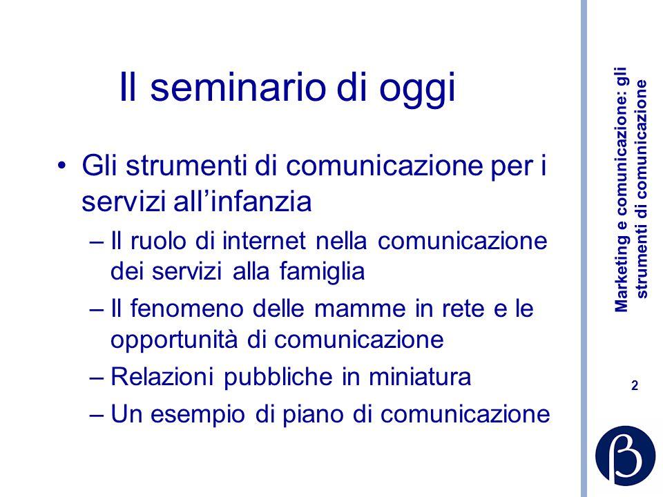 Marketing e comunicazione: gli strumenti di comunicazione 2 Il seminario di oggi Gli strumenti di comunicazione per i servizi allinfanzia –Il ruolo di