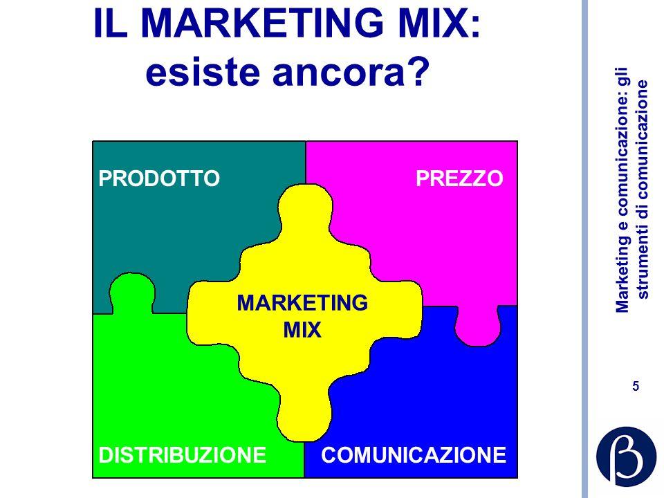 Marketing e comunicazione: gli strumenti di comunicazione 5 IL MARKETING MIX: esiste ancora? PRODOTTOPREZZO DISTRIBUZIONECOMUNICAZIONE MARKETING MIX