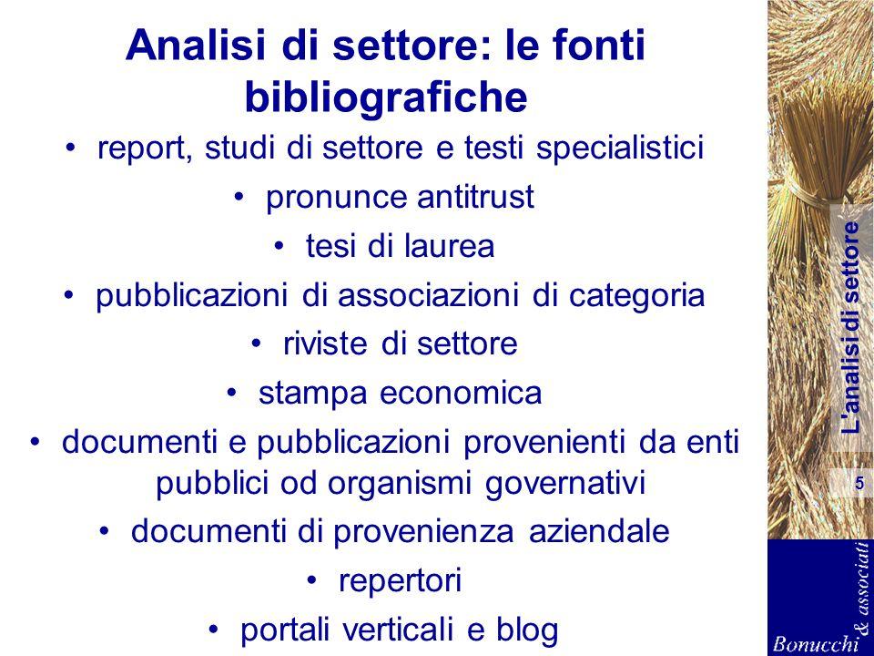 L analisi di settore 6 Un esempio di fonte bibliografica
