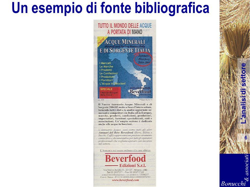 L'analisi di settore 6 Un esempio di fonte bibliografica