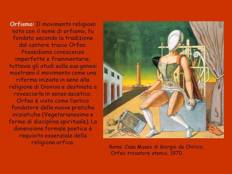 Orfismo: Il movimento religioso noto con il nome di orfismo, fu fondato secondo la tradizione dal cantore tracio Orfeo.