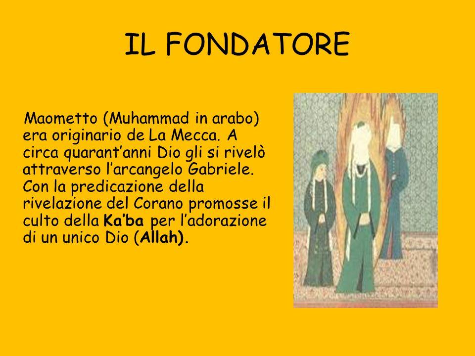 IL FONDATORE Maometto (Muhammad in arabo) era originario de La Mecca.