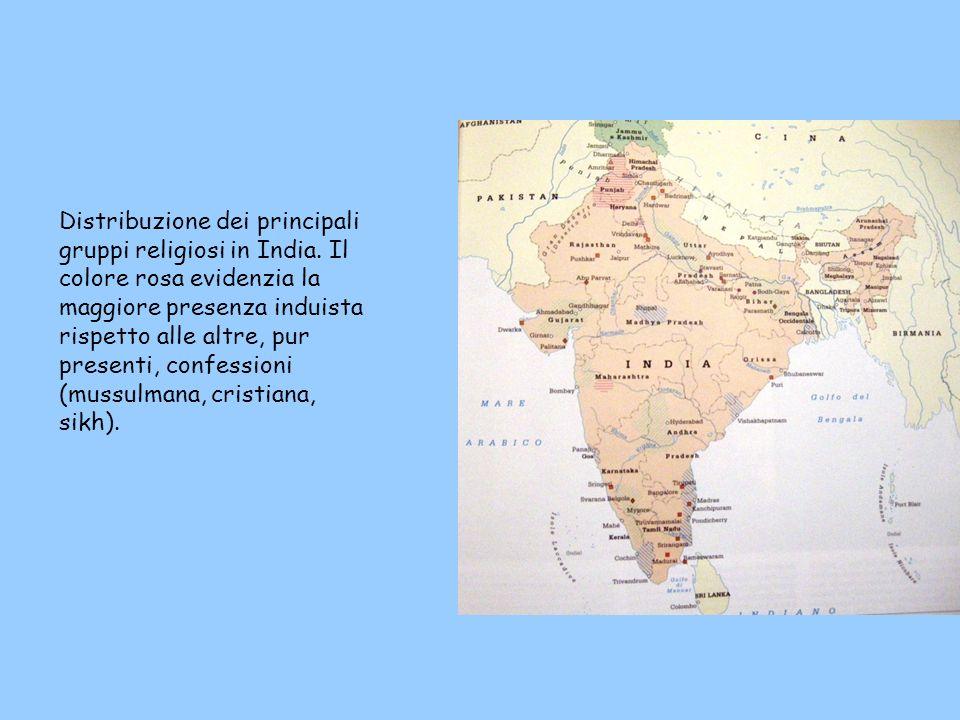 Distribuzione dei principali gruppi religiosi in India.