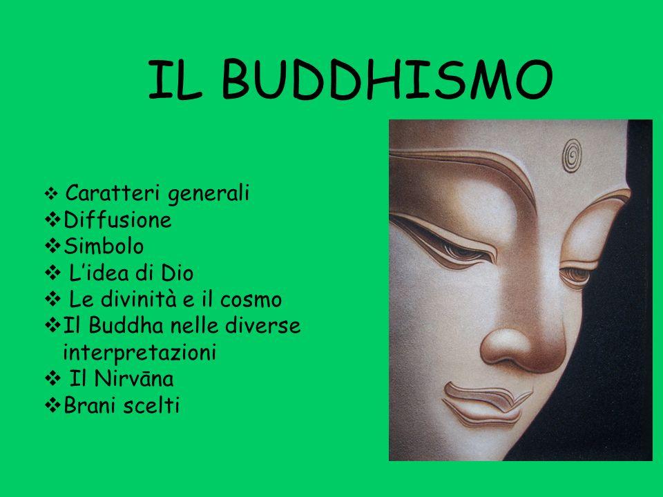 IL BUDDHISMO Caratteri generali Diffusione Simbolo Lidea di Dio Le divinità e il cosmo Il Buddha nelle diverse interpretazioni Il Nirvāna Brani scelti
