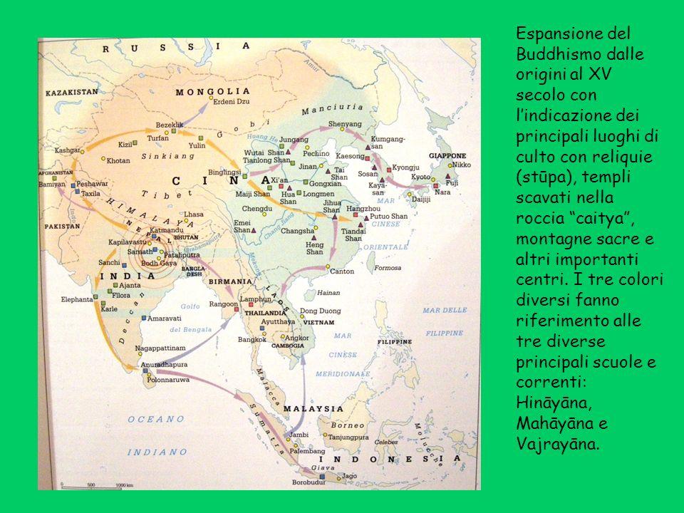 Espansione del Buddhismo dalle origini al XV secolo con lindicazione dei principali luoghi di culto con reliquie (stūpa), templi scavati nella roccia caitya, montagne sacre e altri importanti centri.