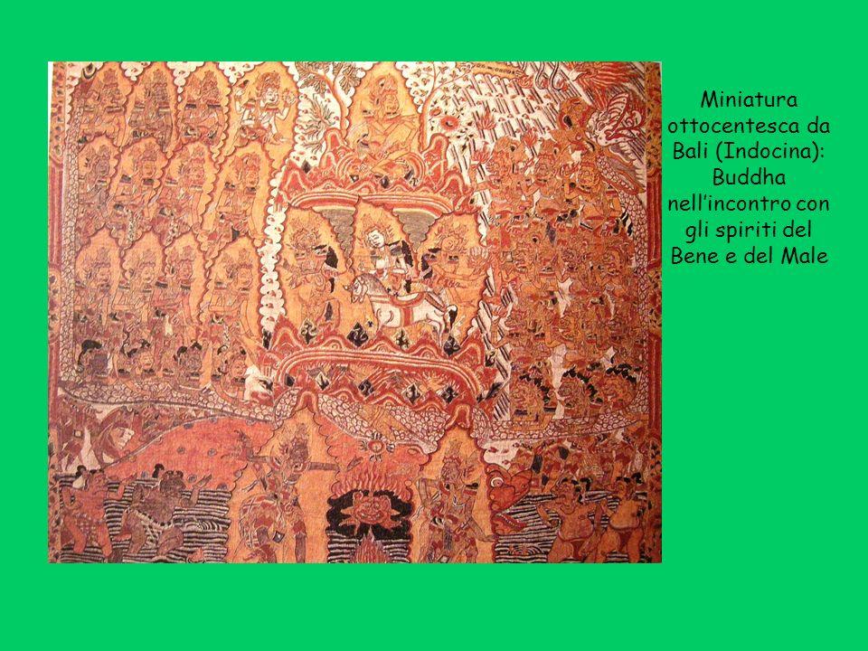 Miniatura ottocentesca da Bali (Indocina): Buddha nellincontro con gli spiriti del Bene e del Male