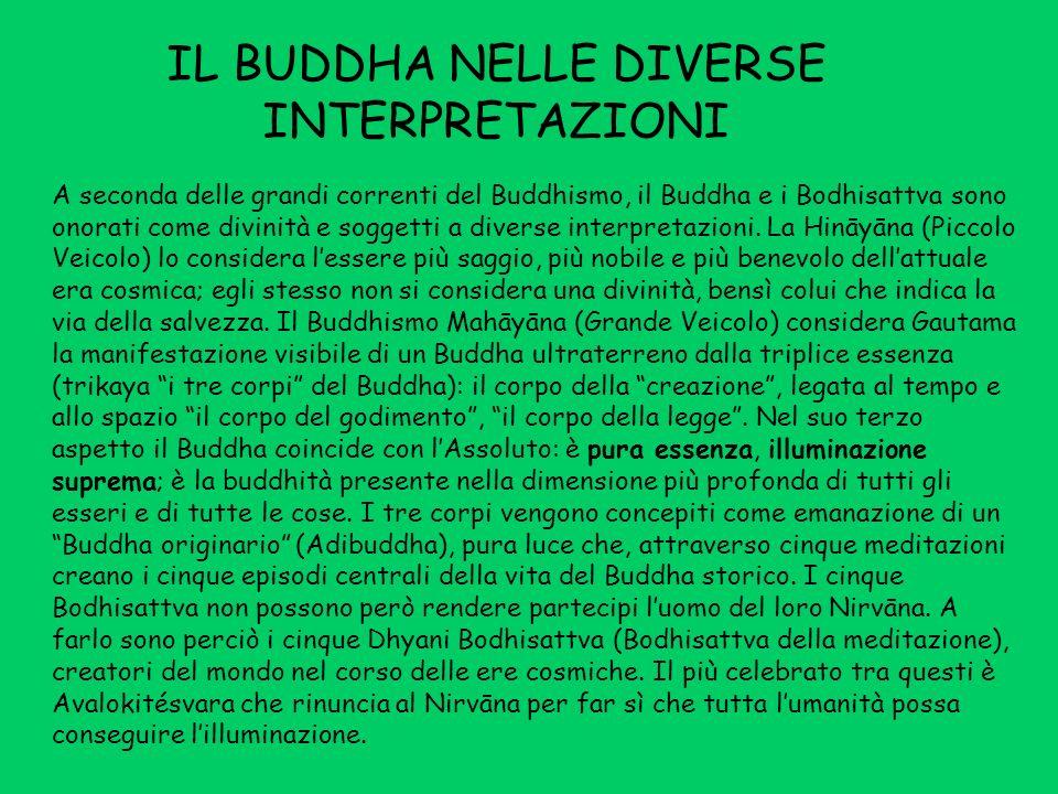 IL BUDDHA NELLE DIVERSE INTERPRETAZIONI A seconda delle grandi correnti del Buddhismo, il Buddha e i Bodhisattva sono onorati come divinità e soggetti a diverse interpretazioni.