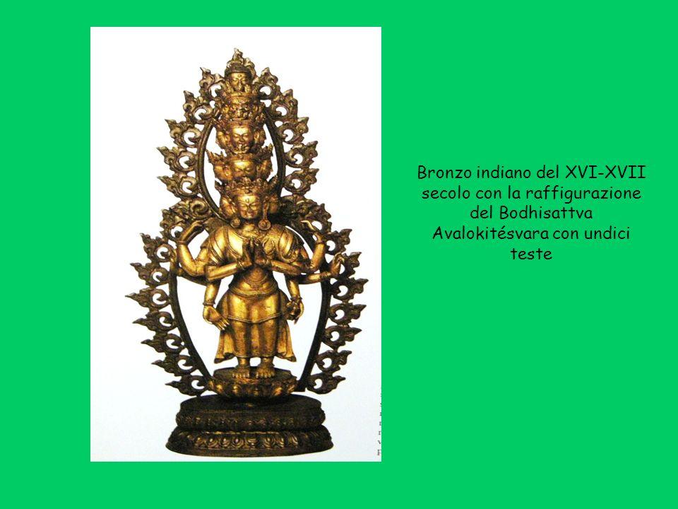 Bronzo indiano del XVI-XVII secolo con la raffigurazione del Bodhisattva Avalokitésvara con undici teste