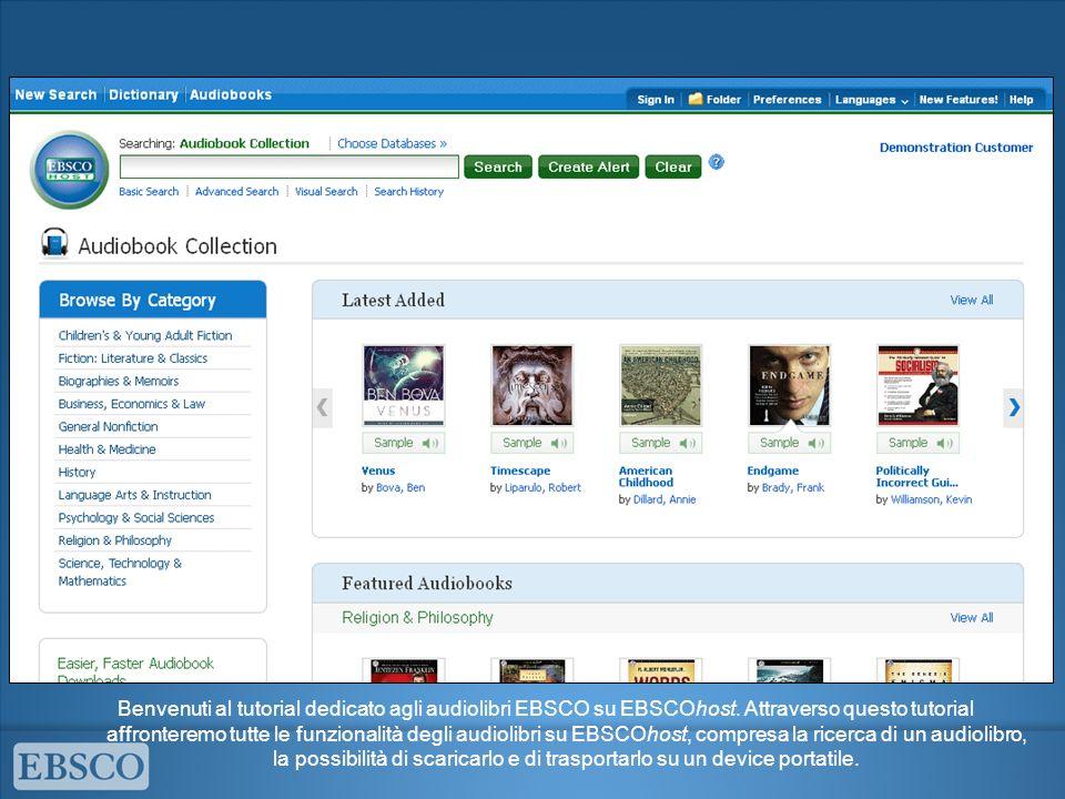 Benvenuti al tutorial dedicato agli audiolibri EBSCO su EBSCOhost.