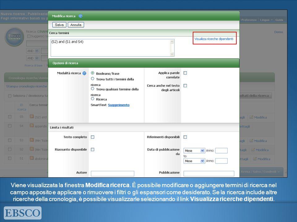 Viene visualizzata la finestra Modifica ricerca. È possibile modificare o aggiungere termini di ricerca nel campo apposito e applicare o rimuovere i f