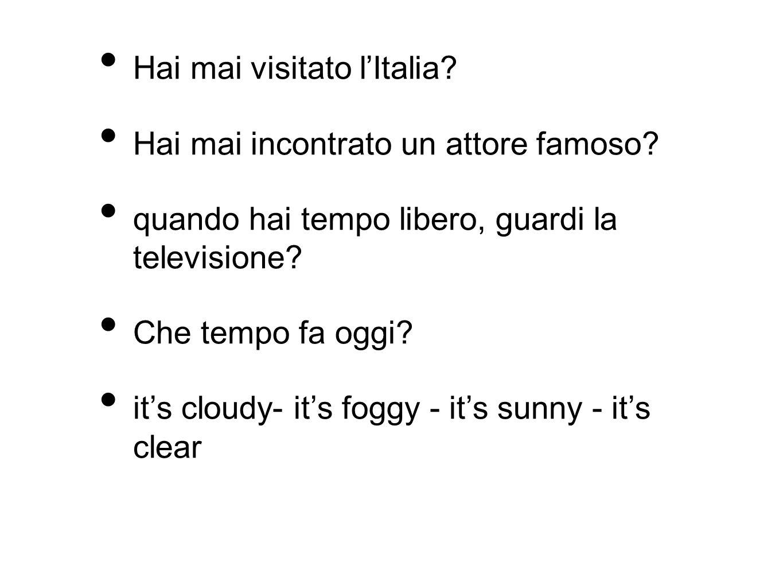 Hai mai visitato lItalia? Hai mai incontrato un attore famoso? quando hai tempo libero, guardi la televisione? Che tempo fa oggi? its cloudy- its fogg