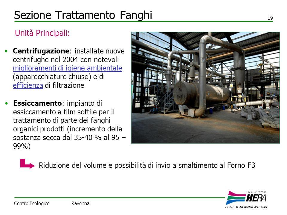 Sezione Trattamento Fanghi 19 Centrifugazione: installate nuove centrifughe nel 2004 con notevoli miglioramenti di igiene ambientale (apparecchiature chiuse) e di efficienza di filtrazione Unità Principali: Essiccamento: impianto di essiccamento a film sottile per il trattamento di parte dei fanghi organici prodotti (incremento della sostanza secca dal 35-40 % al 95 – 99%) Riduzione del volume e possibilità di invio a smaltimento al Forno F3 ECOLOGIA AMBIENTE S.r.l Centro Ecologico Ravenna