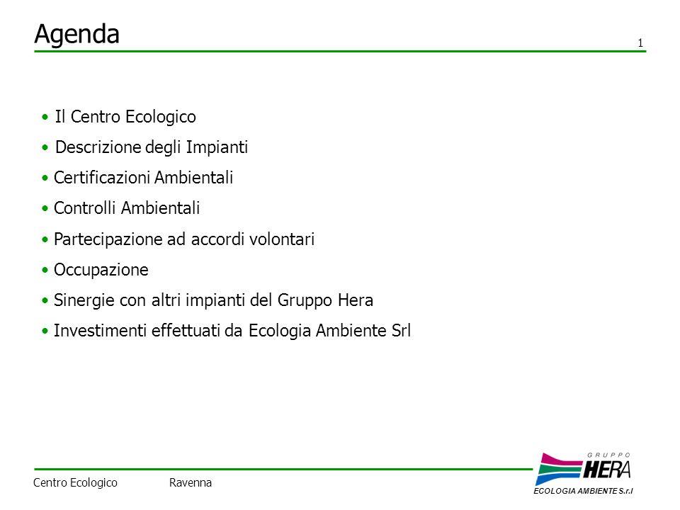 Agenda ECOLOGIA AMBIENTE S.r.l 1 Centro Ecologico Ravenna Il Centro Ecologico Descrizione degli Impianti Certificazioni Ambientali Controlli Ambientali Partecipazione ad accordi volontari Occupazione Sinergie con altri impianti del Gruppo Hera Investimenti effettuati da Ecologia Ambiente Srl