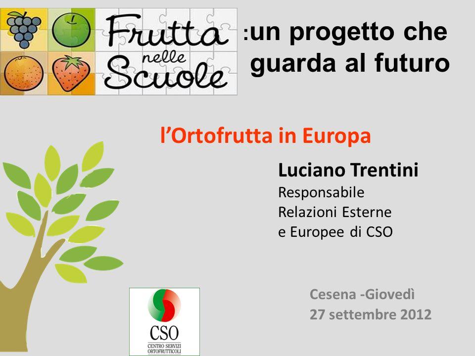 Cesena -Giovedì 27 settembre 2012 lOrtofrutta in Europa Luciano Trentini Responsabile Relazioni Esterne e Europee di CSO : un progetto che guarda al futuro