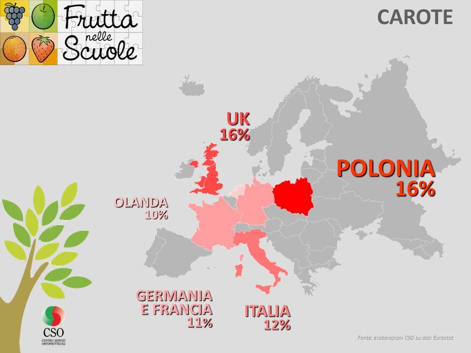 CAROTE Fonte: elaborazioni CSO su dati Eurostat POLONIA 16% 16% UK16% ITALIA 12 % GERMANIA E FRANCIA 11 % OLANDA10%