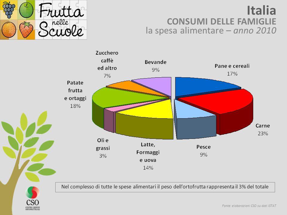 Fonte: elaborazioni CSO su dati ISTAT Italia CONSUMI DELLE FAMIGLIE la spesa alimentare – anno 2010 Nel complesso di tutte le spese alimentari il peso dellortofrutta rappresenta il 3% del totale