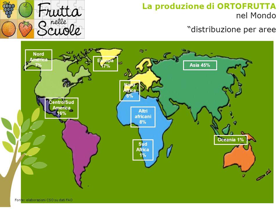 La produzione di ORTOFRUTTA nel Mondo distribuzione per aree Nord Africa 6% Sud Africa 1% Altri africani 8% Nord America 7% Centro/Sud America 16% Asia 45% Europa 17% Oceania 1% Fonte: elaborazioni CSO su dati FAO