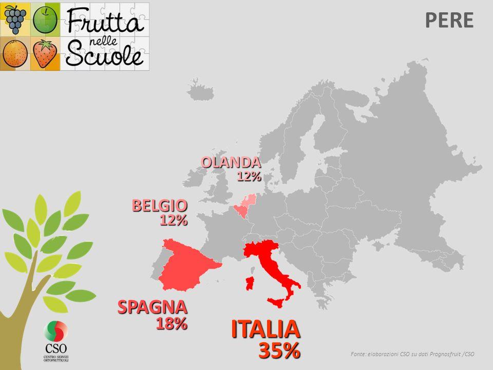 Fonte: elaborazioni CSO su dati Prognosfruit /CSO PERE ITALIA 35% 35% SPAGNA 18% 18% BELGIO 12% 12% OLANDA
